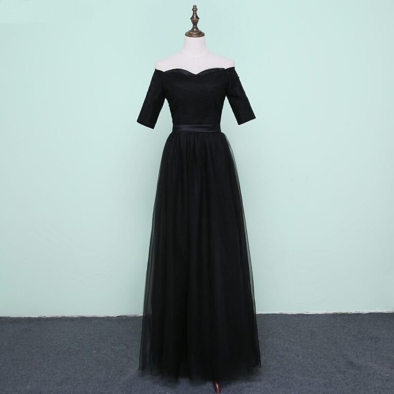 Black Tulle Sweetheart Half Sleeve Long Bridesmaid Dress