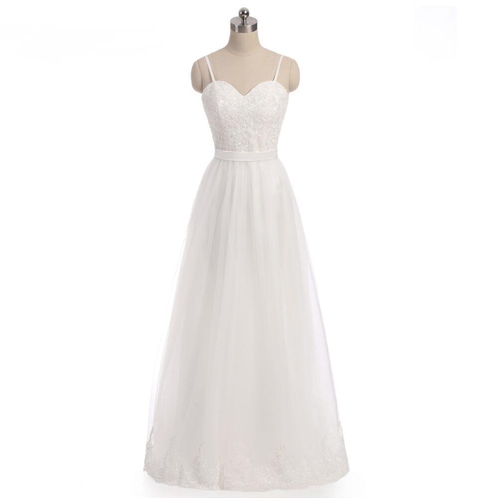 A-line Spaghetti Straps Chiffon Backless Beach Wedding Dress