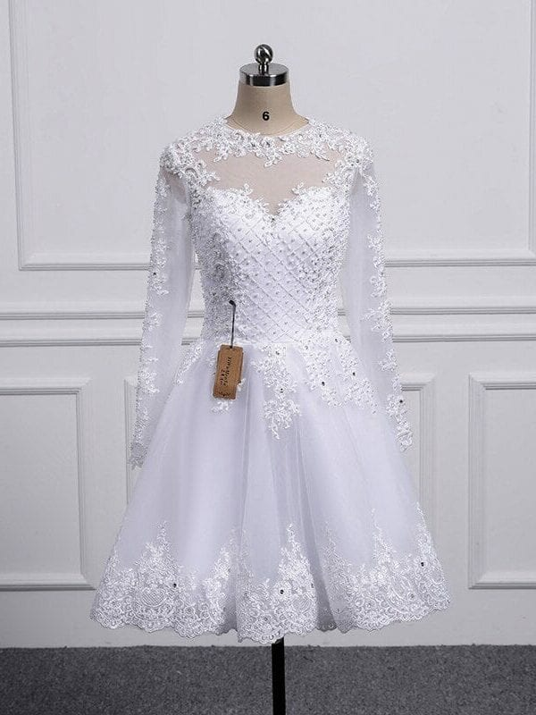Two Pieces Lace A-line Wedding Dresses With Detachable Train
