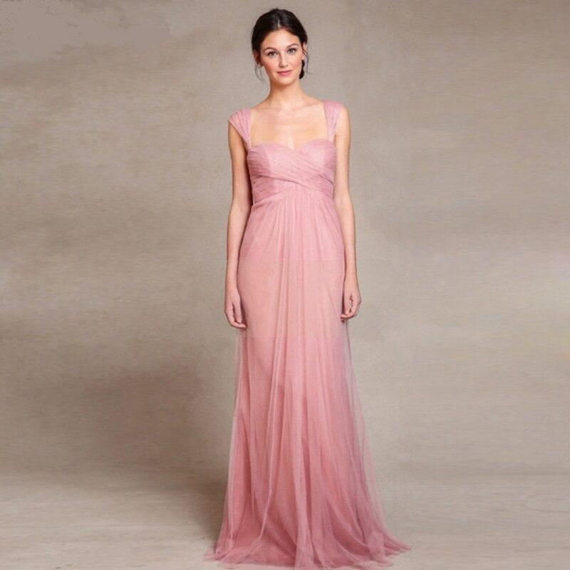 Pink Color Beach Style Long Bridesmaid Dress