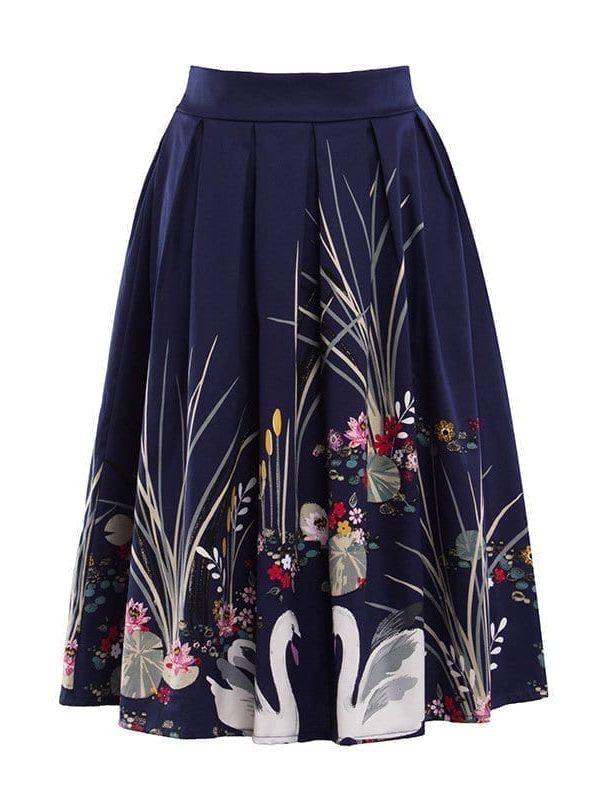 Elegant Vintage Swan Printed High Waist Flared Midi Pleated Skirt