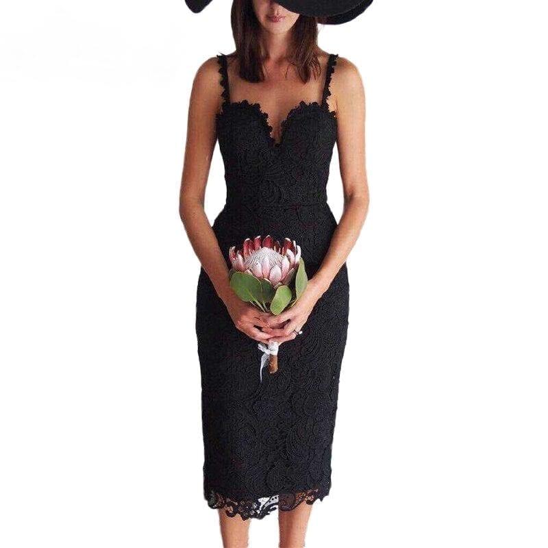 White Black Lace Bodycon Casual Office Midi Dress