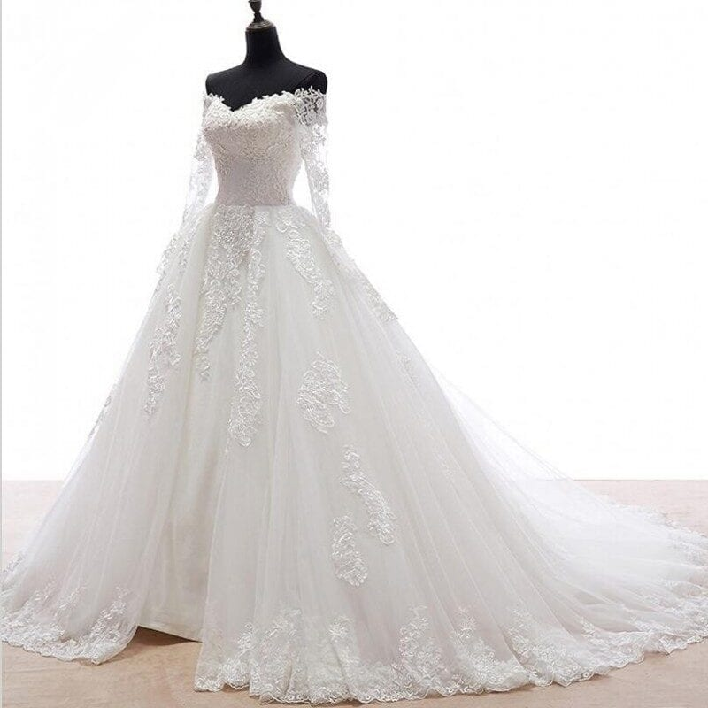 Romantic Long Sleeves Appliques Detachable Skirt Train Wedding Dress