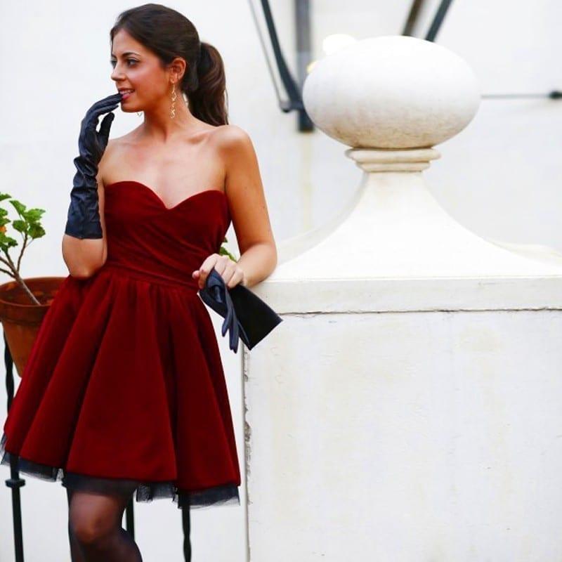 Pleated Burgundy Velvet Prom Short Dress