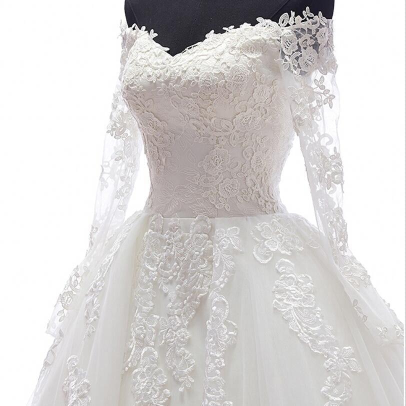 Romantic long sleeves appliques detachable skirt train for Wedding dress detachable sleeves