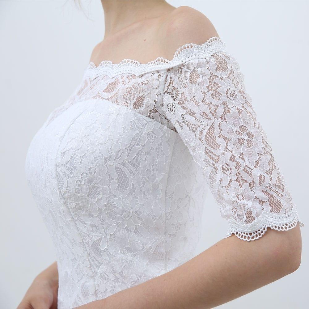 White Vintage Off The Shoulder Half Sleeves Lace Mermaid Wedding Dress