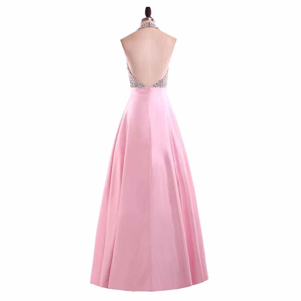 Satin Halter Beaded Long Elegant Prom Dress