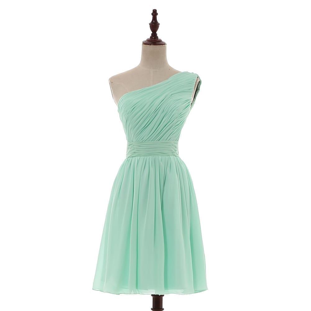 Mint Green Knee Length Pleated Short Chiffon Bridesmaid Dress