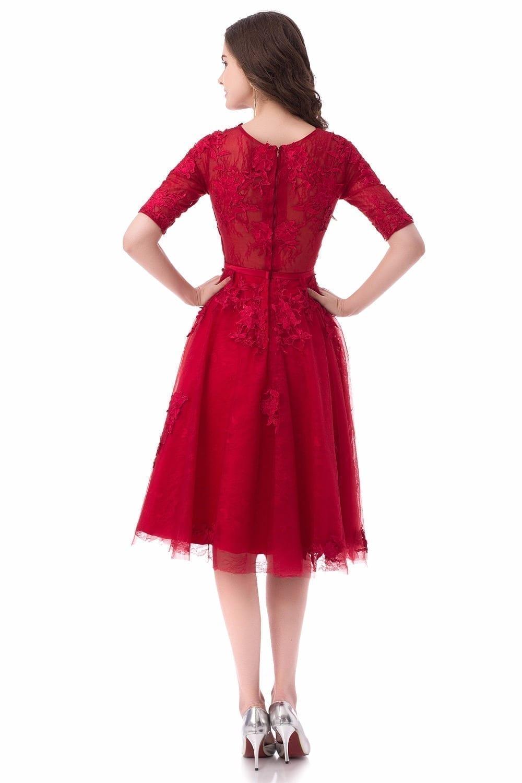 A-line Lace Appliques Half Sleeves Elegant Short Evening Dress