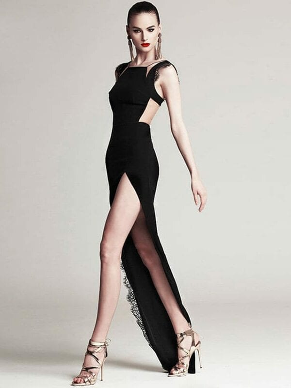 Spaghetti Strap High Slit Floor Length Lace Black Dress   Uniqistic.com