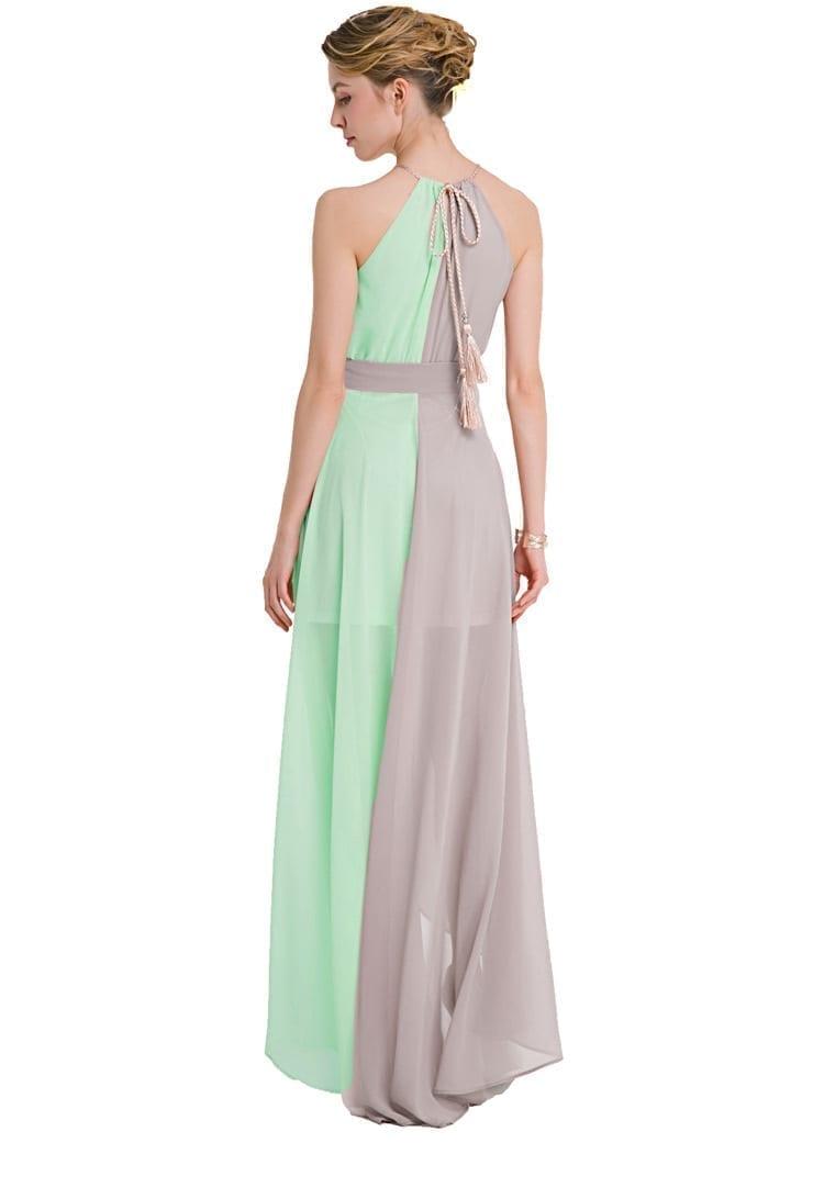 Off Shoulder Sleeveless Patchwork Floor Length Chiffon Maxi Dress