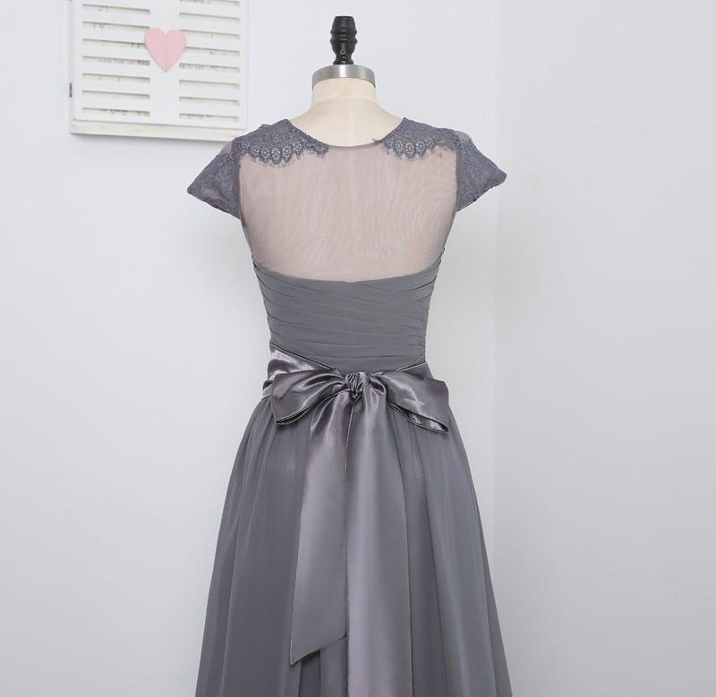 A-line High Collar Cap Sleeves Gray Chiffon Long Bridesmaid Dress