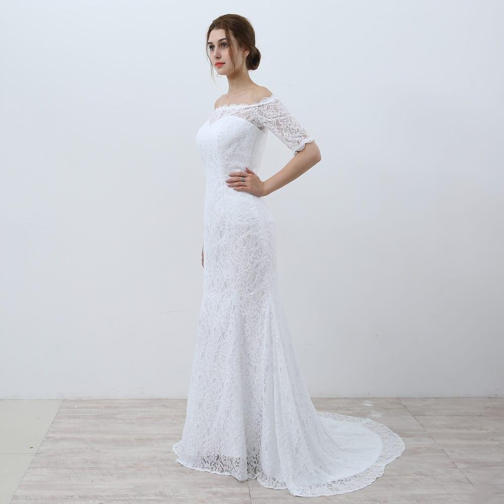 White vintage off the shoulder half sleeves lace mermaid for Vintage off the shoulder wedding dresses