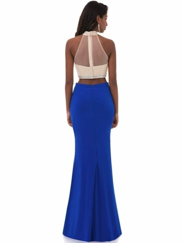 High Neck Appliques Beading Floor Length Two Pieces Blue Mermaid Prom Dress