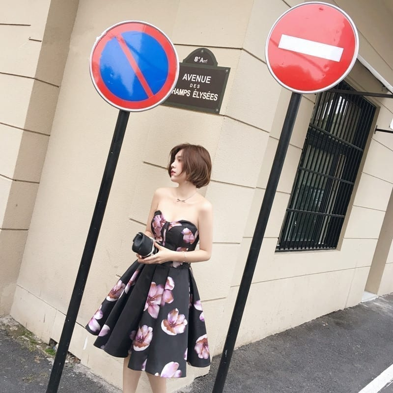 Sleeveless Sweetheart Taffeta Printed Off The Shoulder Bridesmaid Dress