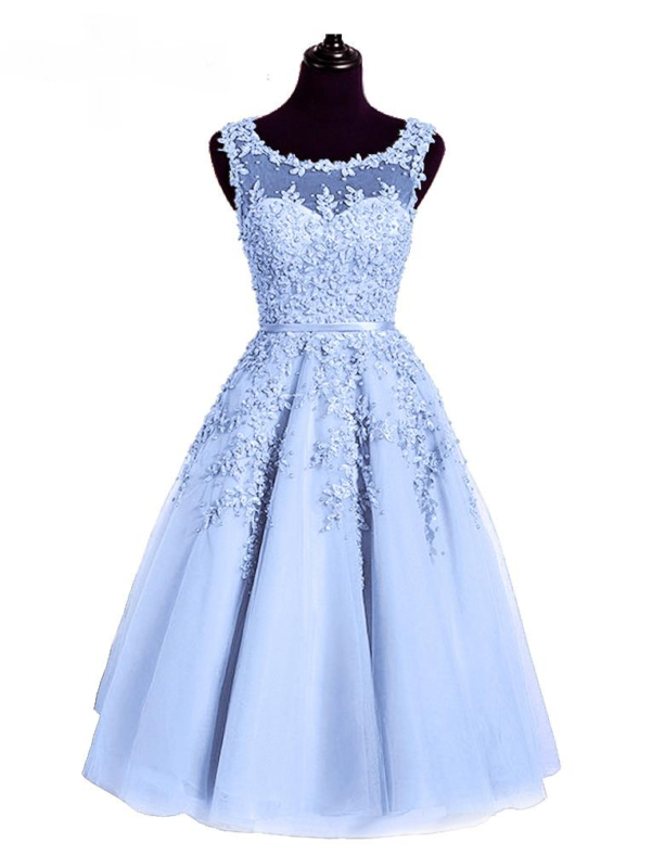 Light Blue Beaded Lace Appliques Knee Length Bridesmaid Dress