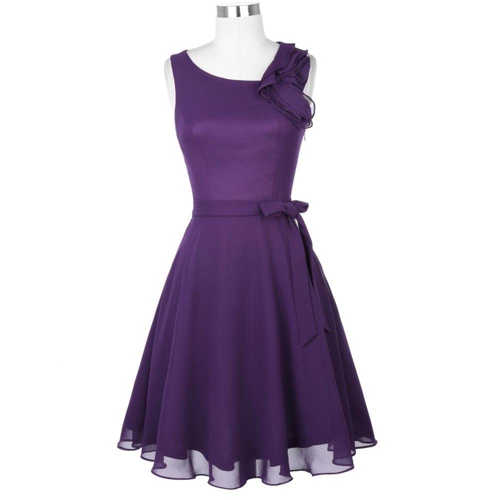Short Purple Ruffle Sleeveless Knee Length Chiffon Bridesmaid Dress