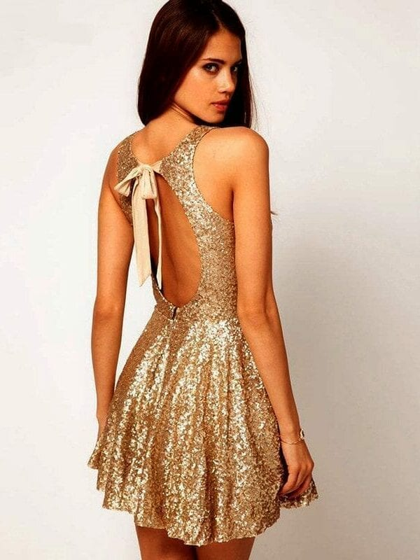 Gold Sequin Backless Party Dress