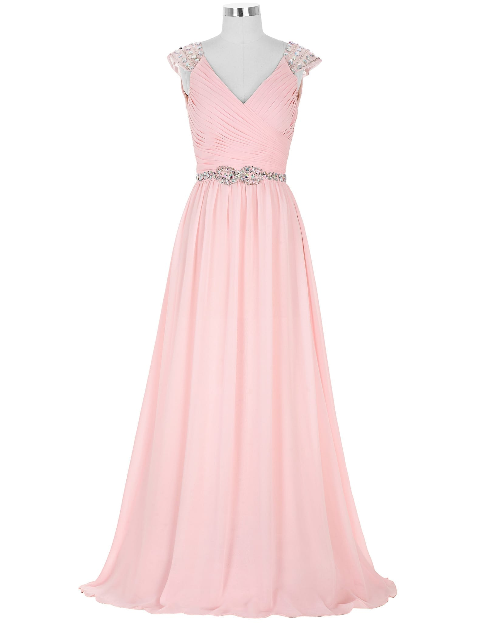 Pink chiffon v neck beaded a line capped sleeve maid of for Maid of honor wedding dresses