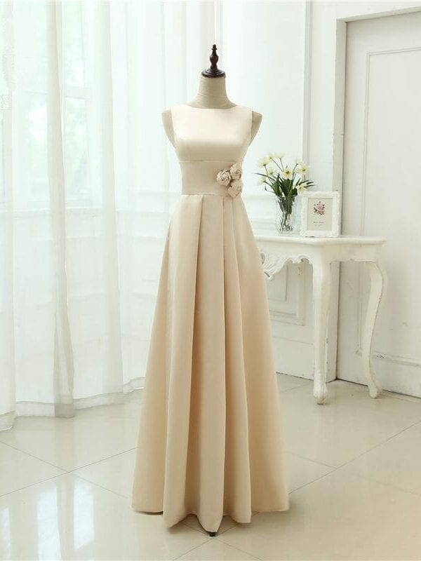 Classic Simple Style Floor Length Open Back Bridesmaid Dress