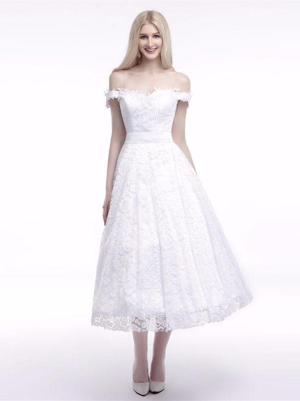 Tea length lace off the shoulder wedding dress for Lace mid length wedding dresses
