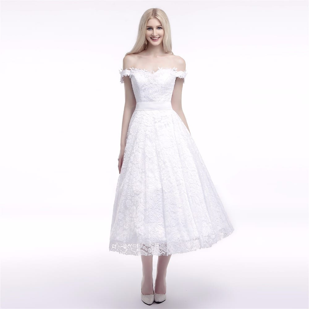 Tea length lace off the shoulder wedding dress for Mid length wedding dress