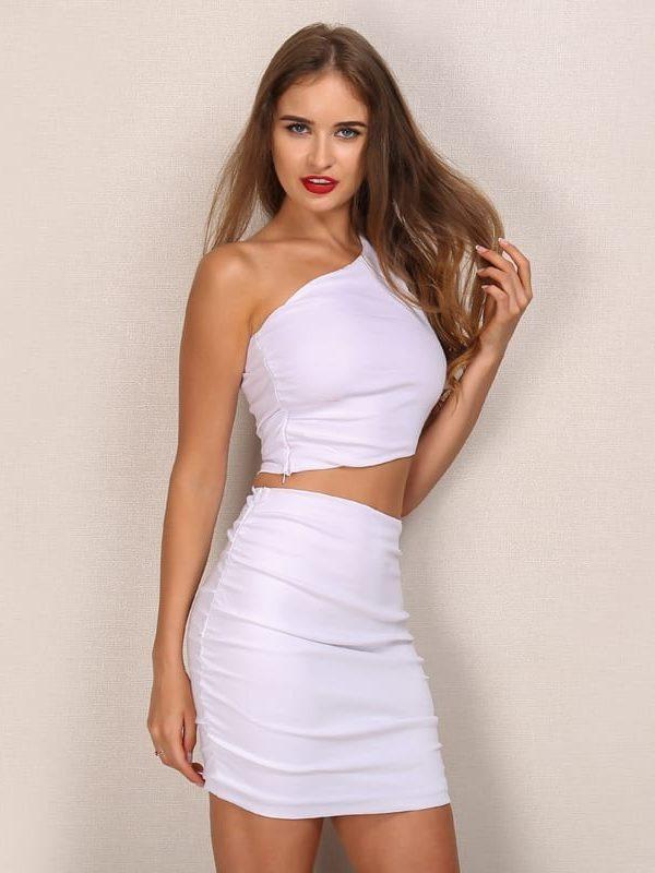 One Shoulder 2 Piece White Bodycon Dress