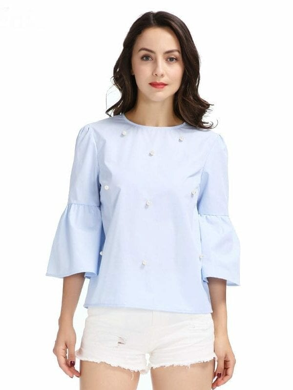 Elegant Pearls Beading Three Quarter Flare Sleeve O Neck Blouse Shirt