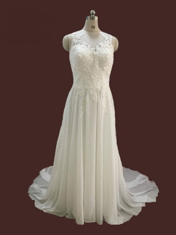 White/ivory Sheer Neck Chiffon A-line Wedding Dress