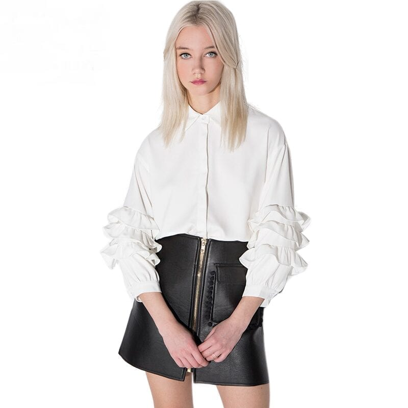 Loose Long Sleeve Vintage Ruffle Blouse Shirt