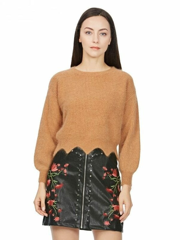 Black Pu Leather Flower Embroidery Zipper Mini Skirt