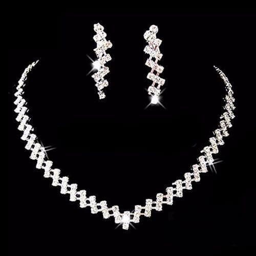 Crystal Rhinestone Diamante Necklace & Earring Set Wedding Jewelry