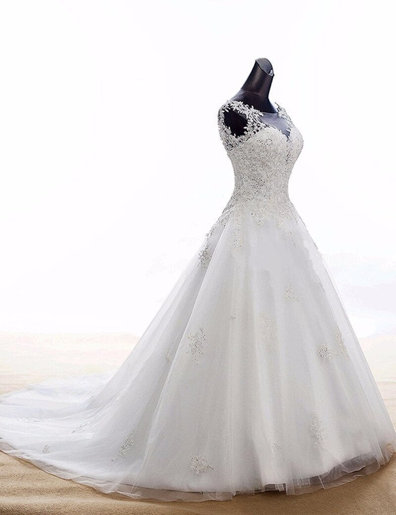 Boho Lace Appliques Court Train White Wedding Dress