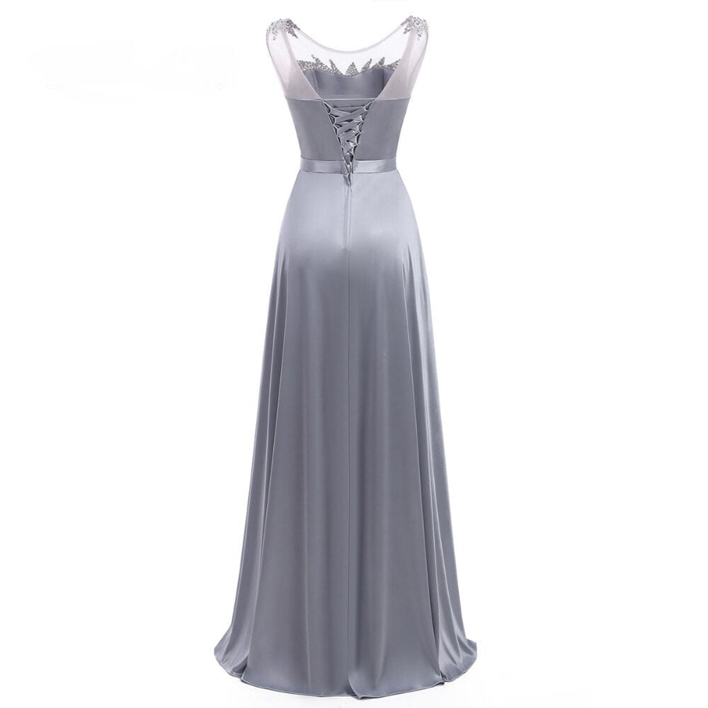 Sleeveless Satin Gray Long Bridesmaid Dress