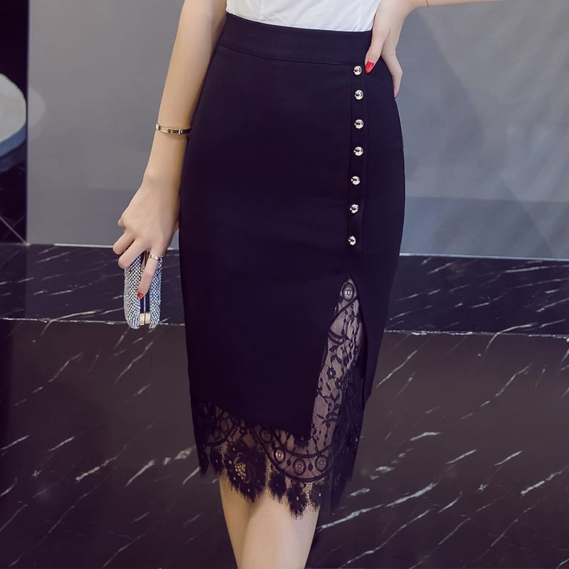 Lace Patchwork Office Pencil Midi Bodycon Skirt