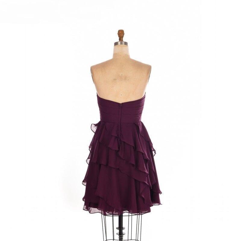 A Line Chiffon Dark Purple Short Bridesmaid Dress