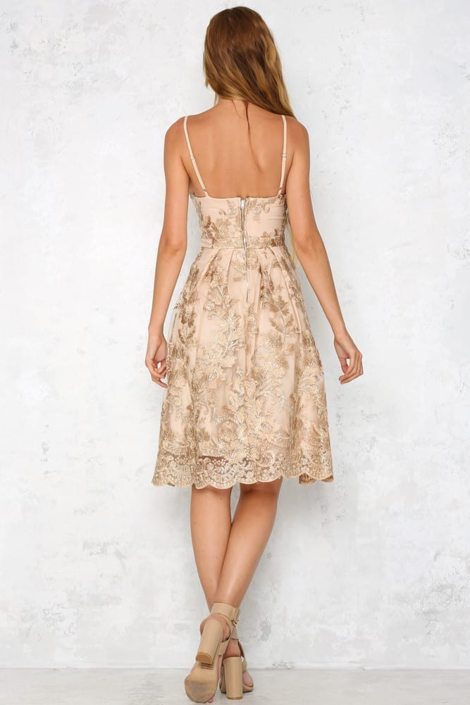 Embroidery Lace Spaghetti Strap Backless A Line Dress