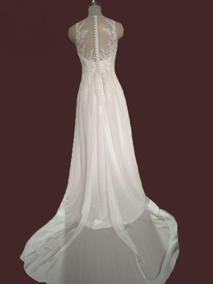White/ivory Sheer Neck Chiffon A-line Wedding Dress