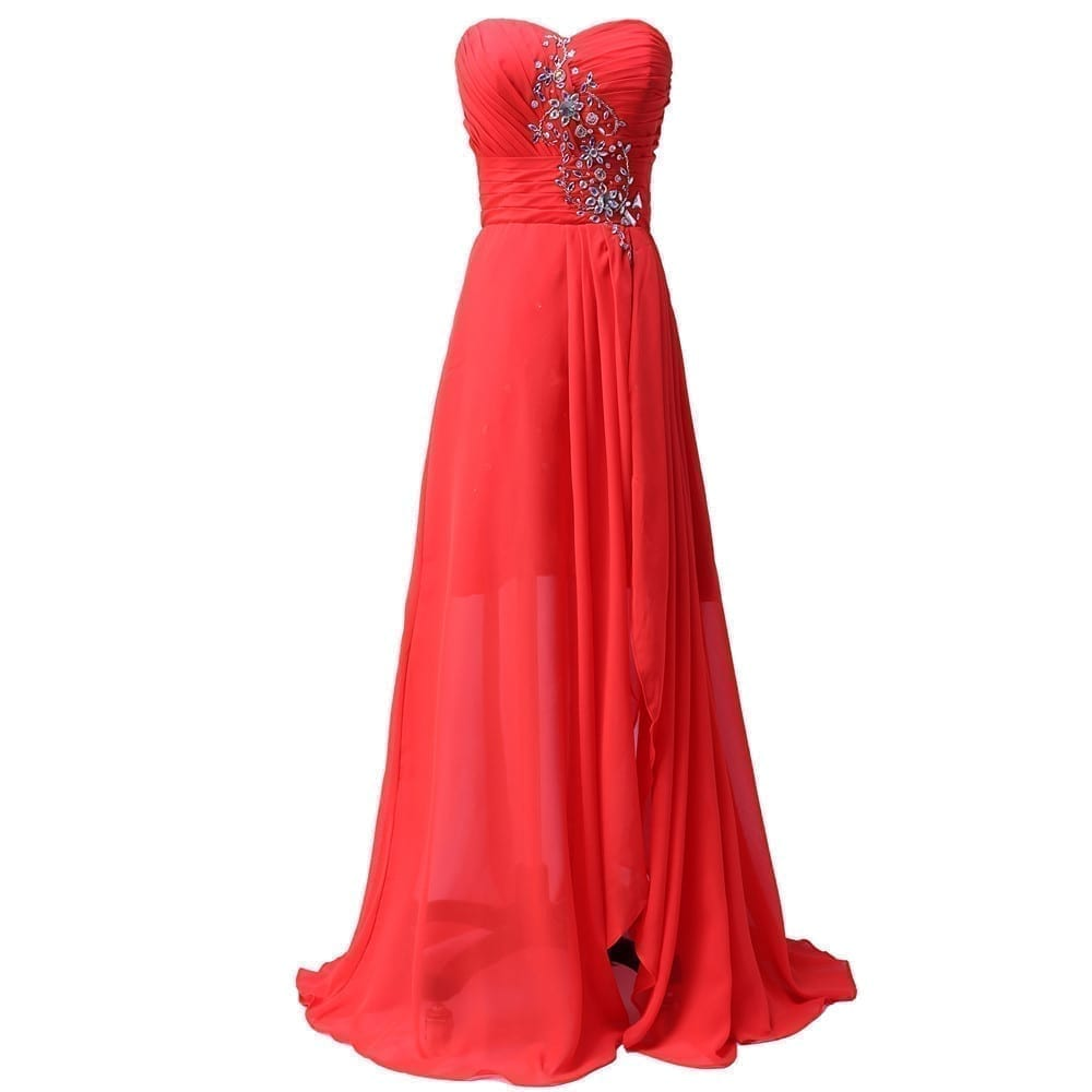 Short front long back navy blue red chiffon spilt crystal for Short red and white wedding dresses