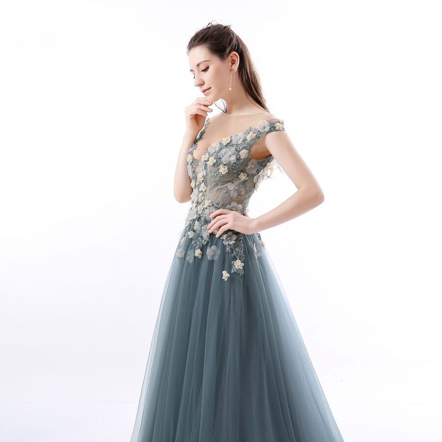 Sheer Plunging Neckline Applique Tulle Beaded Lace Prom Dress