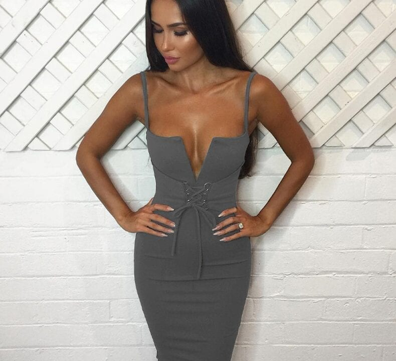Deep V Neck Lace Up Midi Halter Sleeveless Bandage Bodycon Dress