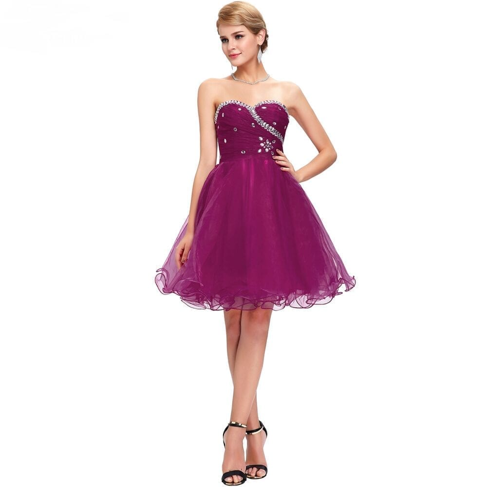 Purple Short Wedding Party Bridesmaid Dress