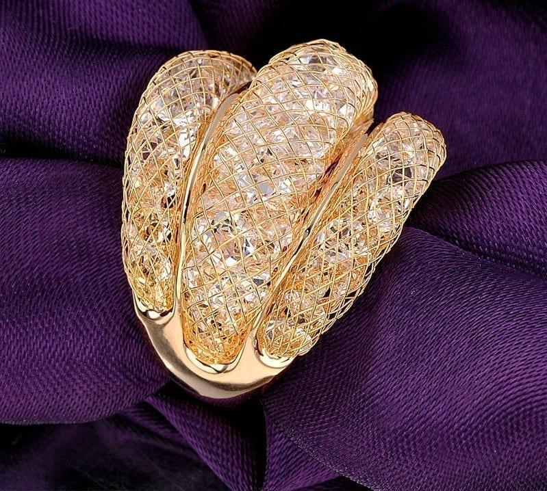 Rose Mesh Zircon Jewelry Statement Ring