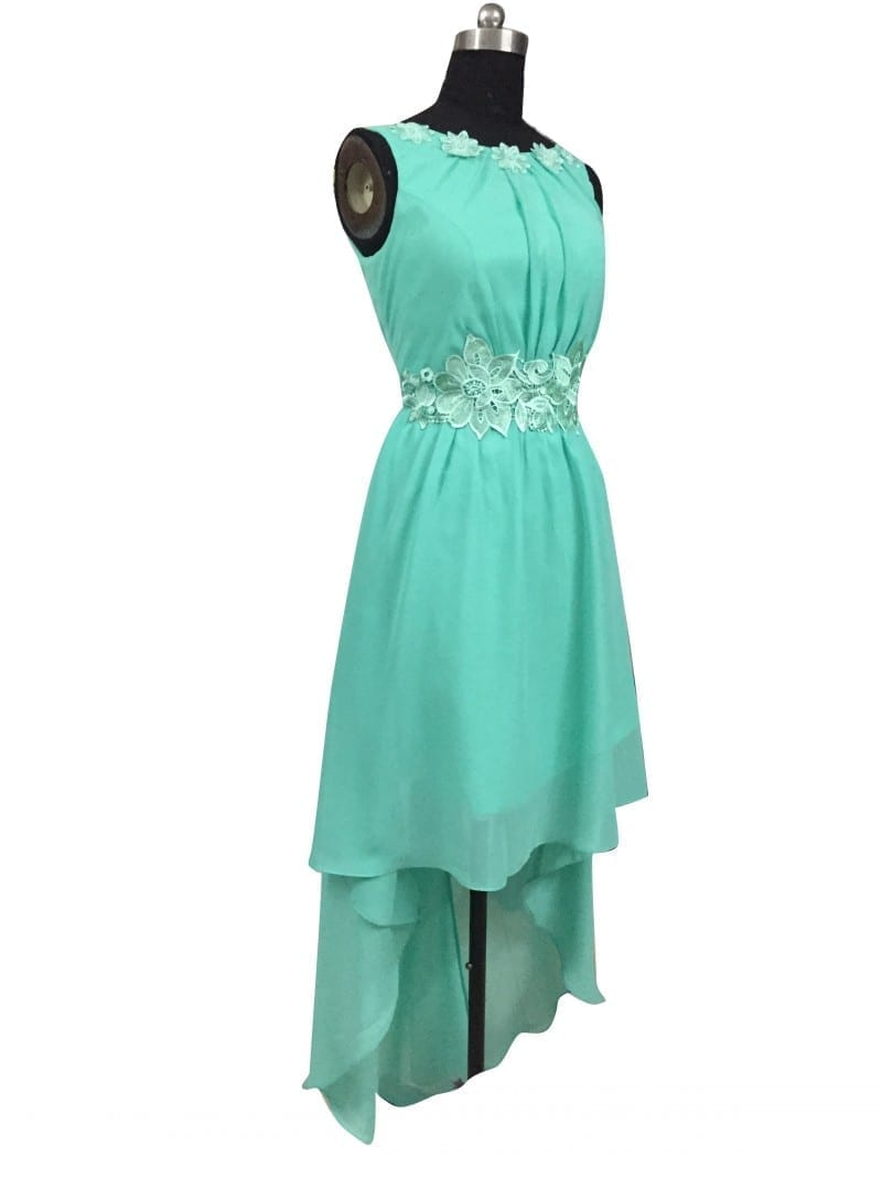 Mint green high low boat neck backless chiffon bridesmaid for High neck backless wedding dress