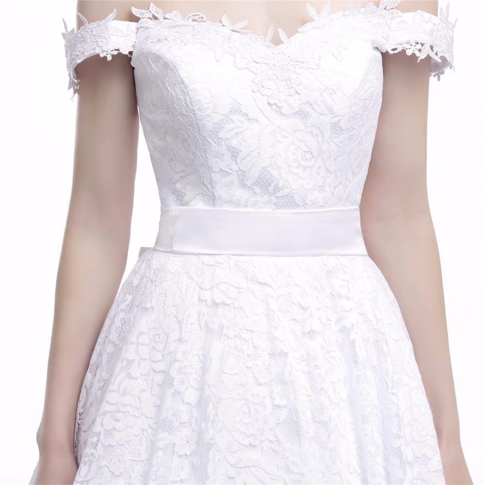 Tea Length Lace Off The Shoulder Wedding Dress