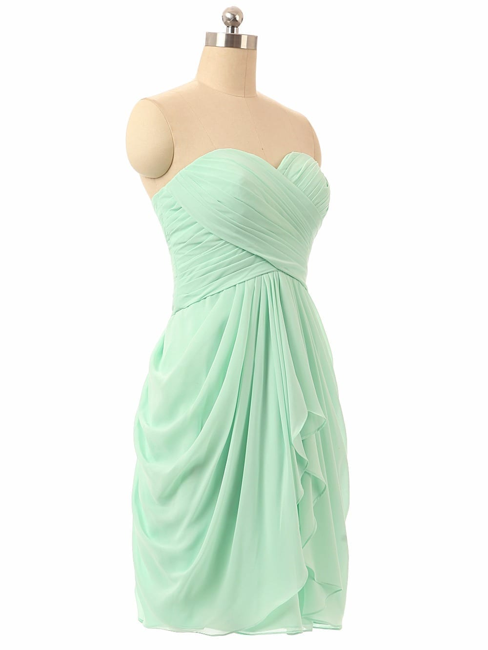 Sweetheart Chiffon Beach Mint Green Bridesmaid Dress