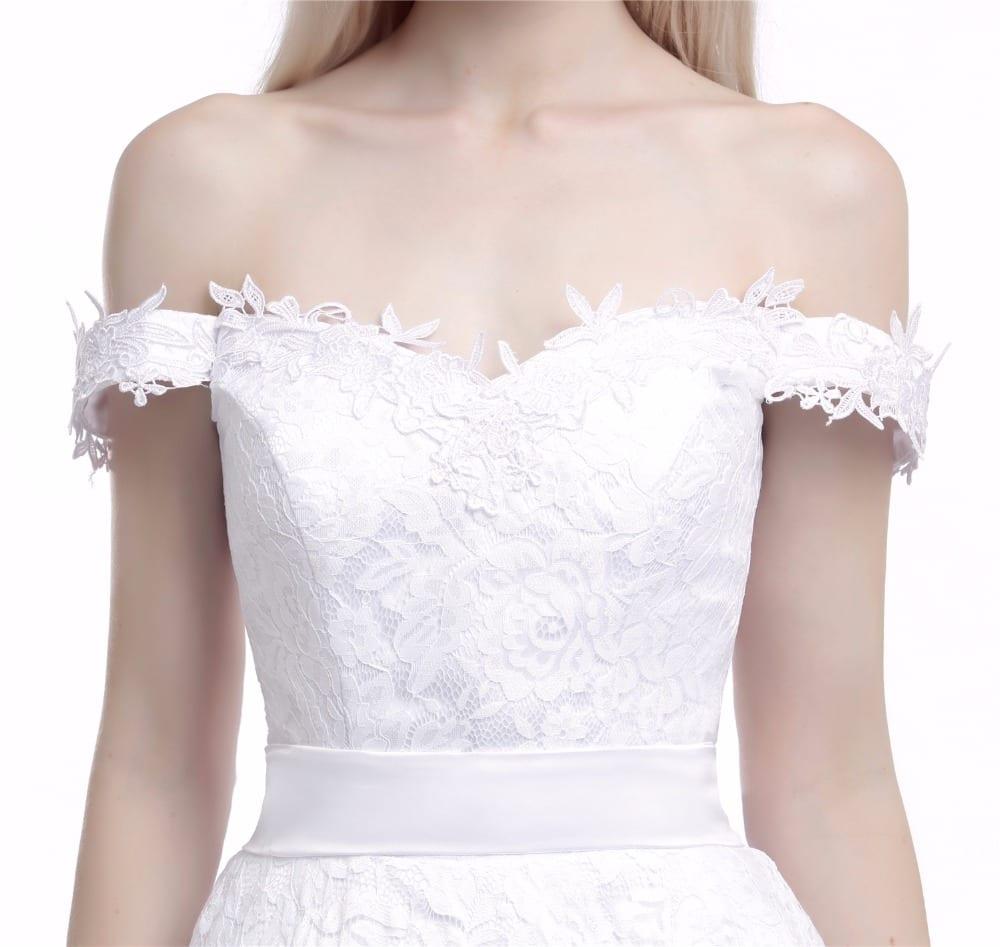 Tea length lace off the shoulder wedding dress for Lace shoulder wedding dress