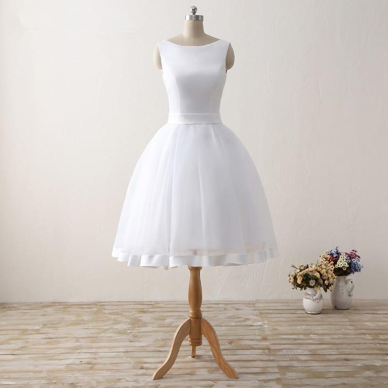 White knee length sleeveless scoop neck bow back short for Shop short wedding dresses