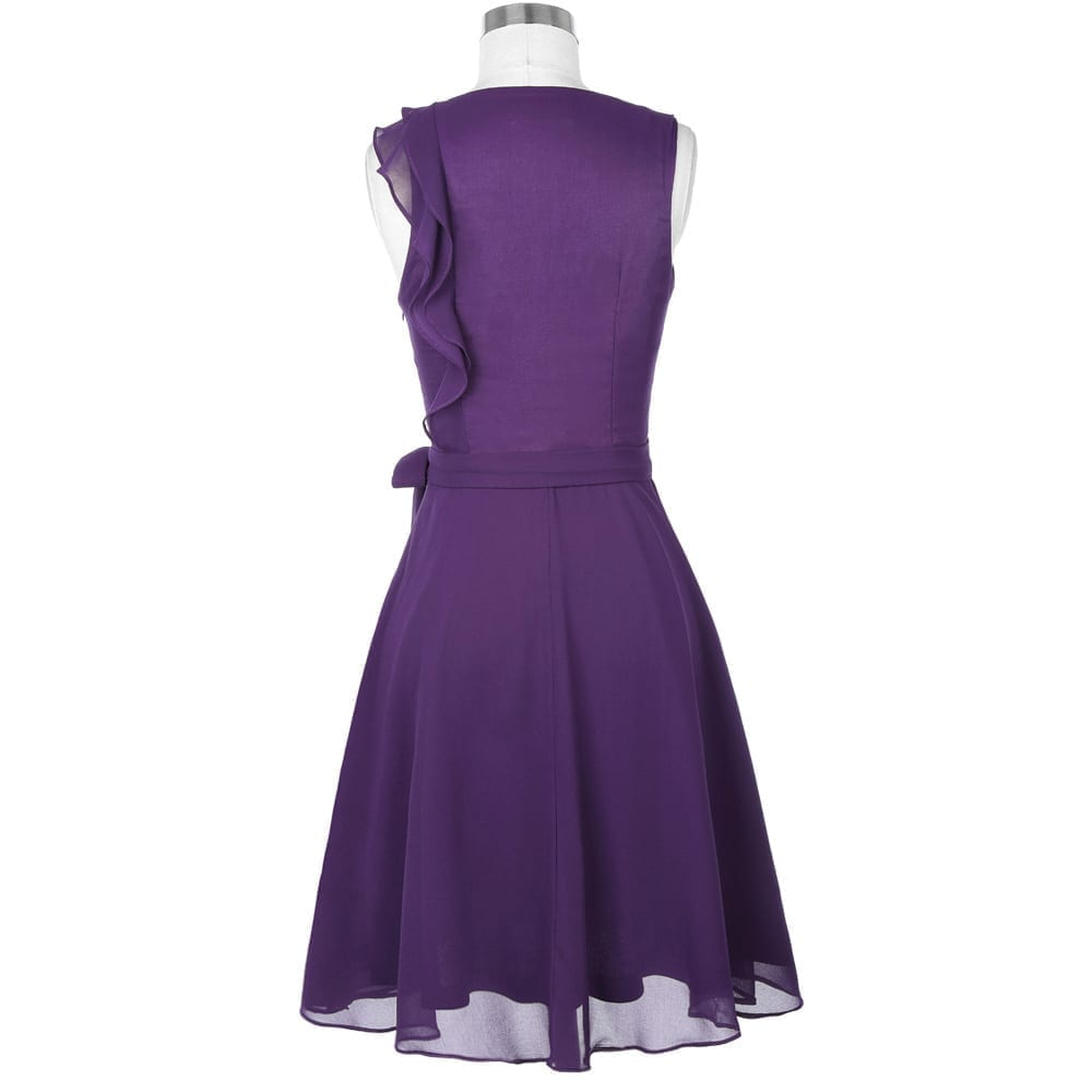 dc1542db8b8972 Short Purple Ruffle Sleeveless Knee Length Chiffon Bridesmaid Dress ...