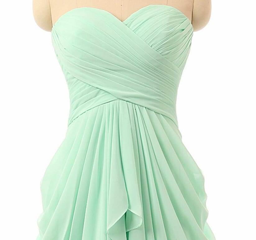 Sweetheart chiffon beach mint green bridesmaid dress for Green beach wedding dresses